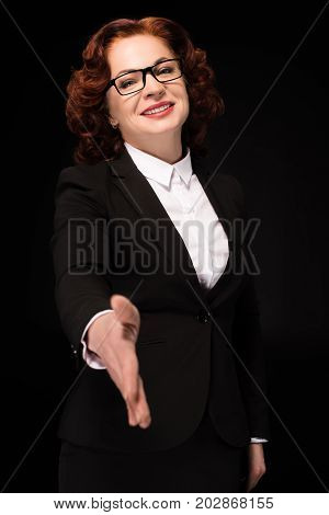 Businesswoman Holding Hand For Handshake