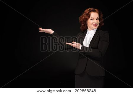 Businesswoman Pretending To Hold Something
