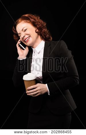 Laughing Businesswoman Talking On Phone