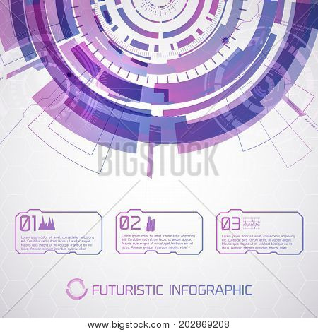 Modern virtual technology conceptual background with futuristic round half-circle and scene touch selector with text and pictograms vector illustration