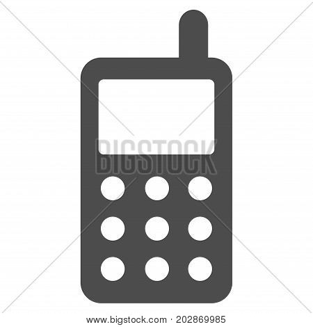 Portable Radio Transmitter vector pictogram. Style is flat graphic grey symbol.