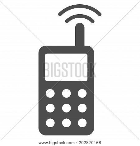 Radio Transmitter Signal vector icon. Style is flat graphic gray symbol.