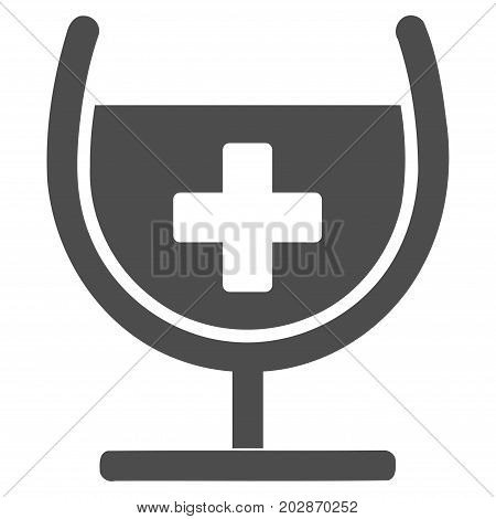 Remedy Syrup Glass vector pictogram. Style is flat graphic grey symbol.
