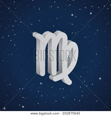 Virgo zodiac symbol 3D white zodiac icon on the background of dark blue starry sky
