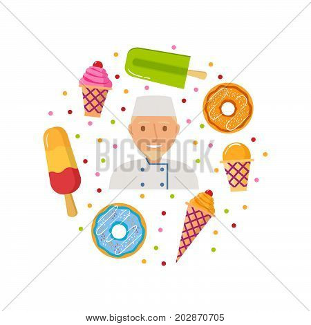 The frozen dessert.Ice cream ice cream cone, an eskimo on wooden sticks.A wafer cup with a ball of strawberry ice cream.The donut glazed with fondant and sprinkling.The confectioner the character.