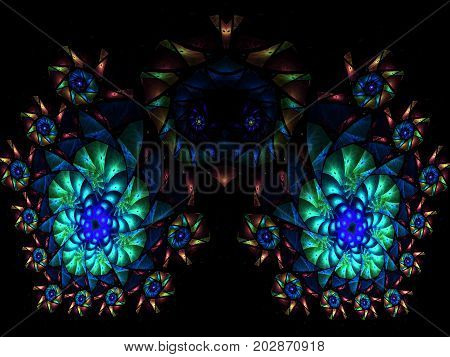 Abstract multicolored fractal pattern. Computer generated graphics. symmetrical pattern on black background
