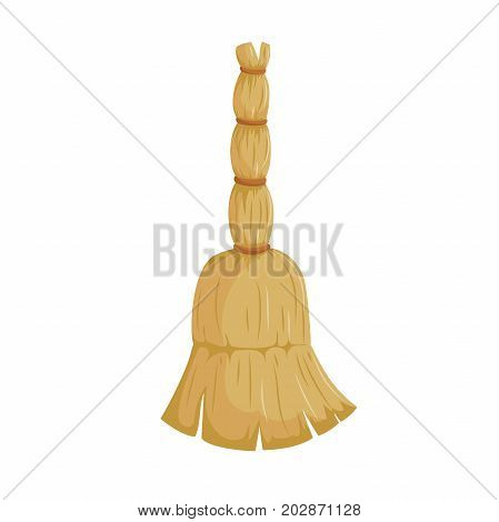 Cartoon trendy style natural broom without stick icon. Hygiene and home cleaning vector illustration.
