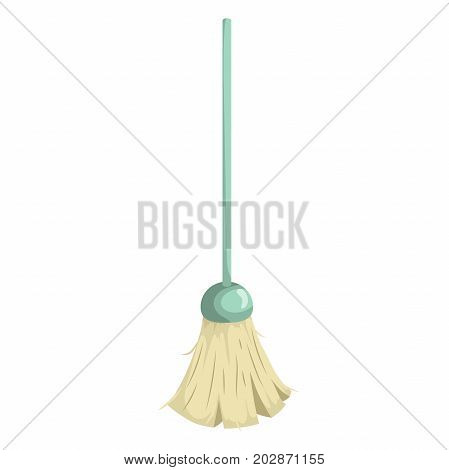 Cartoon trendy broom with green plastic stick icon. Hygiene and home cleaning vector illustration.