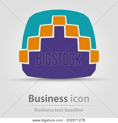 Originally created business icon with square and pixel arrow head