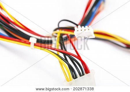 Linking of color wires isolated on a white background