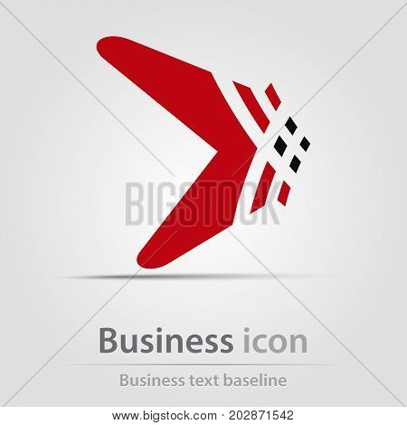 Originally created business icon with hatched perspective arrow