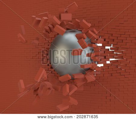 A metal ball broke the brick wall. 3d illustration
