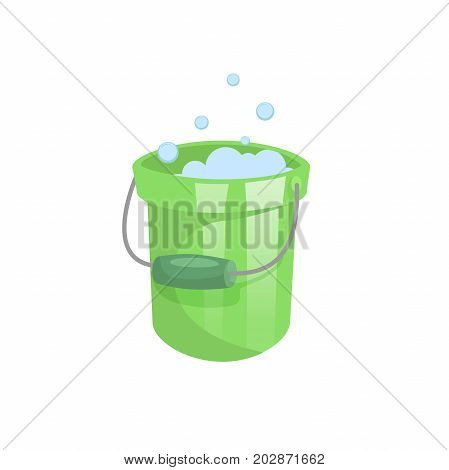 Cartoon trendy flat design green plastic bucket with soap bubbles. Cleaning service symbol isolated on white background.