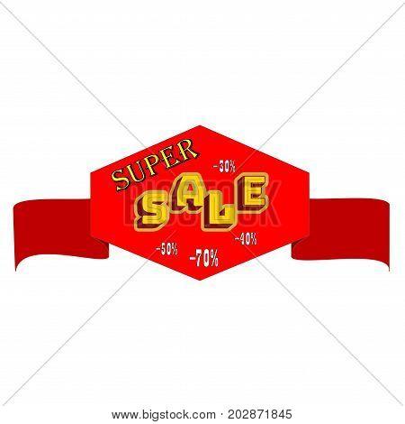 Super SALE banner. Large banner for advertising. Set colorful ribbon on white background. Offer discount sale on market. Selling offer. Big banner for advertising. Design element. Vector illustration