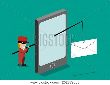 Scammer send phishing mail by mobile phone vector design