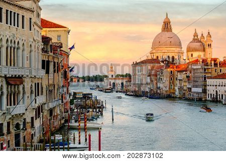 The Grand Canal and the Santa Maria della Salute church in Venice at sunset