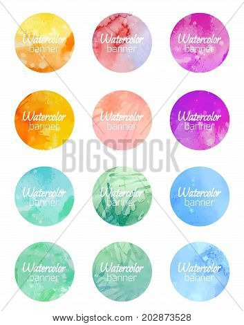 Set of round banners with watercolor background. Vector element for labels stocks marketing and your design