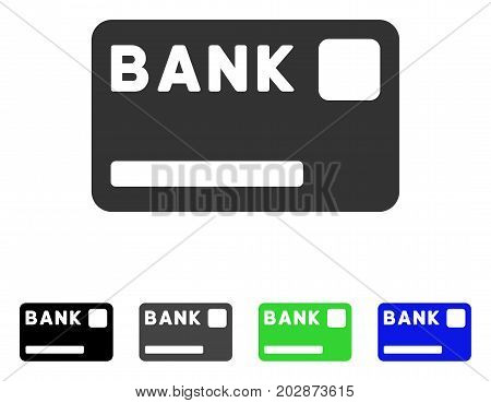 Bank Card icon. Vector illustration style is a flat iconic bank card symbol with black, gray, green, blue color variants. Designed for web and software interfaces.