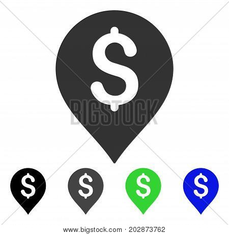 Banking Map Marker icon. Vector illustration style is a flat iconic banking map marker symbol with black, gray, green, blue color variants. Designed for web and software interfaces.