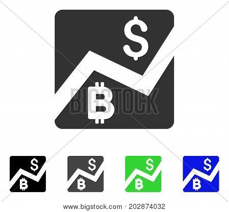 Bitcoin Forex Market icon. Vector illustration style is a flat iconic bitcoin forex market symbol with black, grey, green, blue color versions. Designed for web and software interfaces.