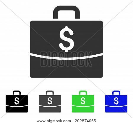 Business Case icon. Vector illustration style is a flat iconic business case symbol with black, gray, green, blue color variants. Designed for web and software interfaces.
