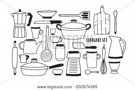 Collection of hand drawn kitchen utensils and tools for cooking against white background. Set of cartoon monochrome cookware. Vector illustration in trendy doodle style
