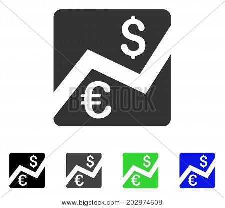 Euro Forex Market icon. Vector illustration style is a flat iconic euro forex market symbol with black, gray, green, blue color versions. Designed for web and software interfaces.