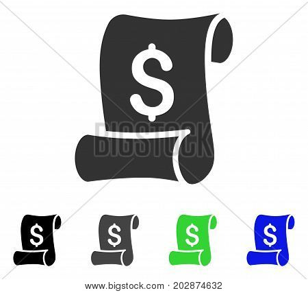 Financial Receipt Roll icon. Vector illustration style is a flat iconic financial receipt roll symbol with black, gray, green, blue color variants. Designed for web and software interfaces.