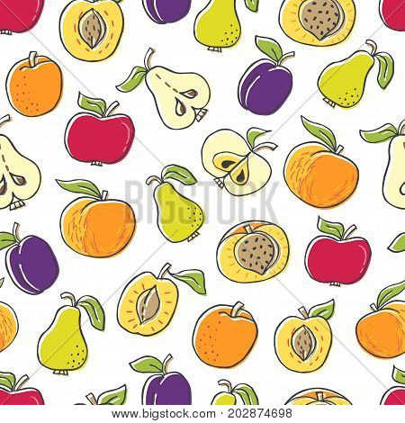 Seamless pattern with hand drawn fruit on white background. Perfect organic food pattern in flat style can use for wrapping paper bio products wallpaper organic backdrop
