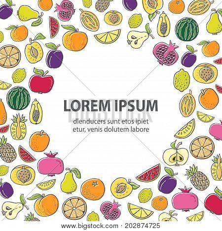 Poster template with Hand drawn fruit. Various organic product in a circle place for text. Unique flat style vector. Organic product for healthy food concept