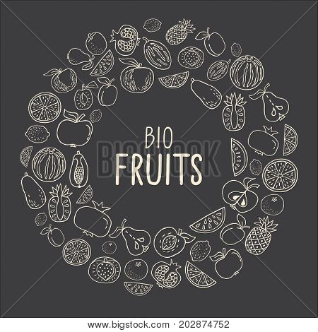 Vector illustration with hand drawn fruit. Healthy food concept various organic product in a circle on black background