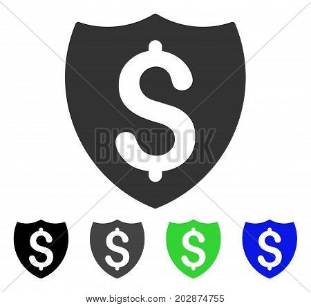 Financial Shield icon. Vector illustration style is a flat iconic financial shield symbol with black, grey, green, blue color variants. Designed for web and software interfaces.