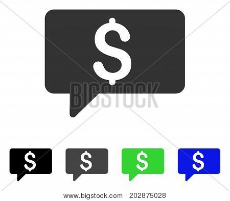 Money Message icon. Vector illustration style is a flat iconic money message symbol with black, grey, green, blue color variants. Designed for web and software interfaces.