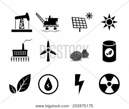 Set of Electricity generation icon for infographic vector