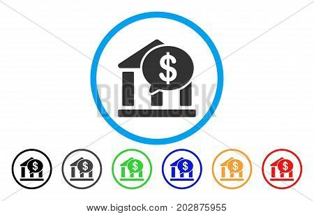 Bank Message rounded icon. Vector illustration style is a gray flat iconic bank message symbol inside a circle. Additional color versions are black, grey, green, blue, red, orange.
