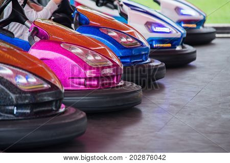 Colorful Electric Bumper Car In Autodrom In The Fairground Attractions At Amusement Park