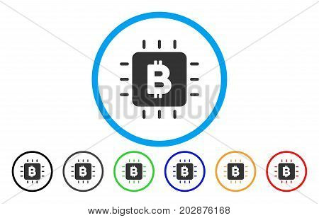 Bitcoin Chip rounded icon. Vector illustration style is a gray flat iconic bitcoin chip symbol inside a circle. Additional color variants are black, gray, green, blue, red, orange.