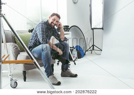Photographer Working In His Studio