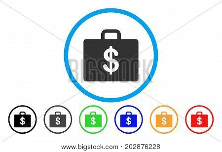 Business Case rounded icon. Vector illustration style is a gray flat iconic business case symbol inside a circle. Additional color variants are black, grey, green, blue, red, orange.