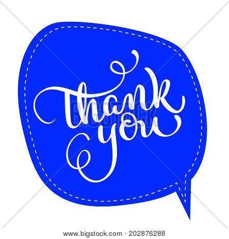 Thank you text on blue tag frame on background. Hand drawn Calligraphy lettering Vector illustration EPS10.