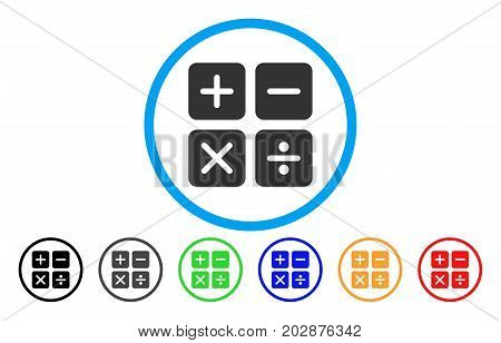 Calculator rounded icon. Vector illustration style is a grey flat iconic calculator symbol inside a circle. Additional color variants are black, gray, green, blue, red, orange.