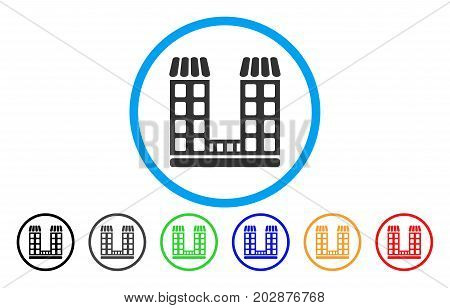 Company Buildings rounded icon. Vector illustration style is a grey flat iconic company buildings symbol inside a circle. Additional color variants are black, grey, green, blue, red, orange.
