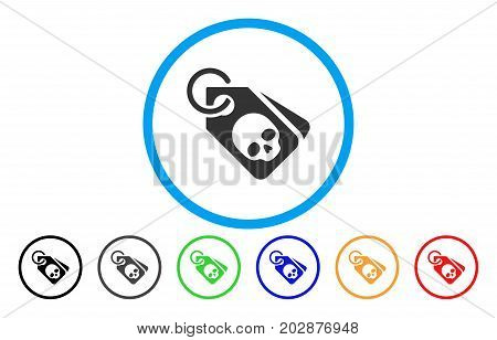 Death Skull Tags rounded icon. Vector illustration style is a gray flat iconic death skull tags symbol inside a circle. Additional color versions are black, grey, green, blue, red, orange.