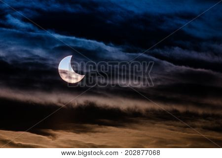 The Partial Solar Eclipse with colored clouds.