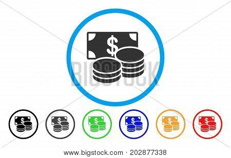 Dollar Cash rounded icon. Vector illustration style is a grey flat iconic dollar cash symbol inside a circle. Additional color versions are black, grey, green, blue, red, orange.
