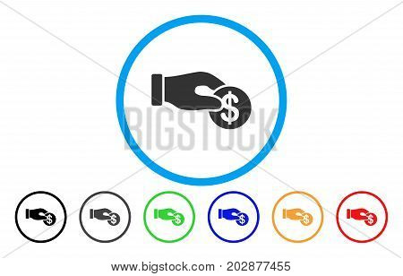 Dollar Donation rounded icon. Vector illustration style is a gray flat iconic dollar donation symbol inside a circle. Additional color variants are black, grey, green, blue, red, orange.