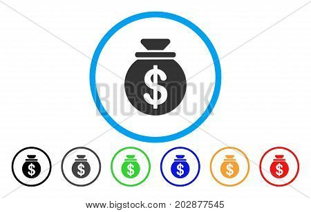 Dollar Money Bag rounded icon. Vector illustration style is a gray flat iconic dollar money bag symbol inside a circle. Additional color variants are black, grey, green, blue, red, orange.