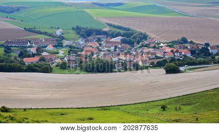 Escalles village with colorful surrounding fields, Cap Blanc Nez, Cote d'Opale, Pas de Calais, Hauts de France, France