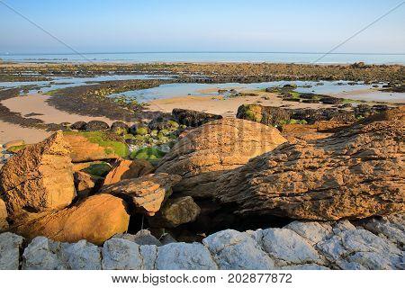 The beach at low tide with colorful rocks in the foreground at Cap Gris Nez, Cote d'Opale, Pas de Calais, Hauts de France, France
