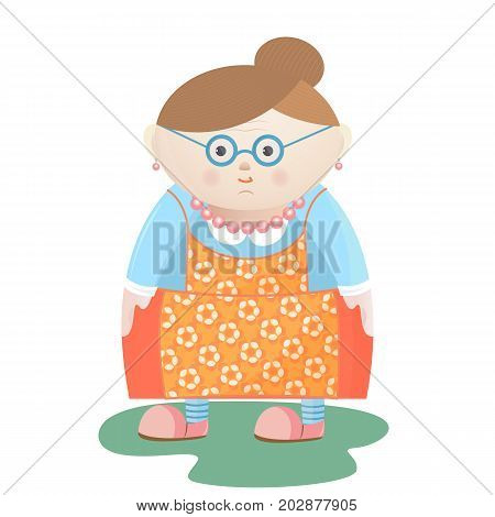 Funny grandmother with glasses with pearl beads and earrings in a flowered apron